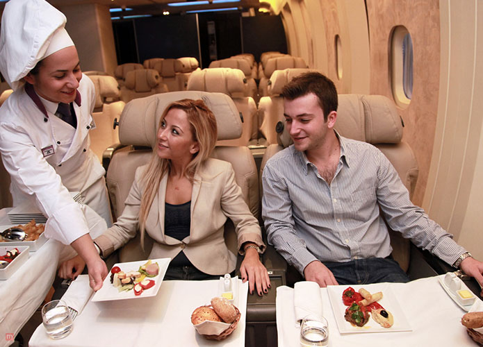Cabin and seats in business class